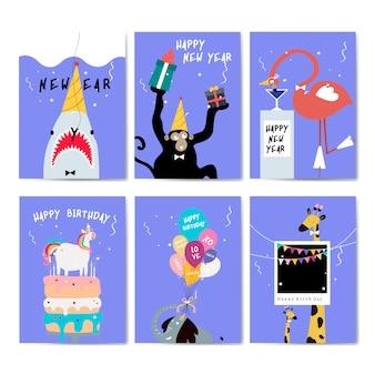 Raccolta di vettore di cartoline d'auguri