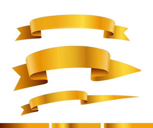 Raccolta di vettore di nastri d'oro. modello per un testo collezione di bandiere isolato su bianco
