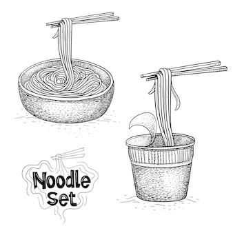 Raccolta di vettore di noodle, illustrazione di cibo in stile disegnato a mano
