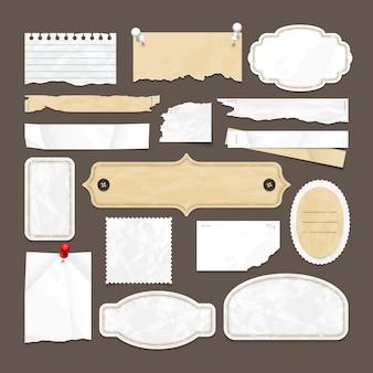 Raccolta di vettore di scrapbooking retrò con vecchie cornici di carta, scudetti e immagini. illustrazione dell'elemento in bianco retro dell'autoadesivo di carta astratta