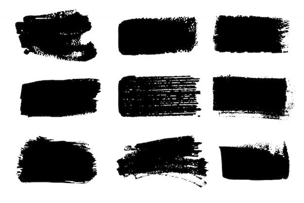 Raccolta di vettore di tratti di vernice. elemento dipinto a mano astratto di lerciume. tratti in bianco e nero con un pennello.