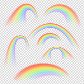 Raccolta di vettore isolata forme leggere differenti dell'arcobaleno. illustrazione dell'arcobaleno dello spettro arco luminosa dell'insieme