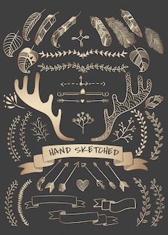 Raccolta di vettori di elemento boho doodle disegnato a mano