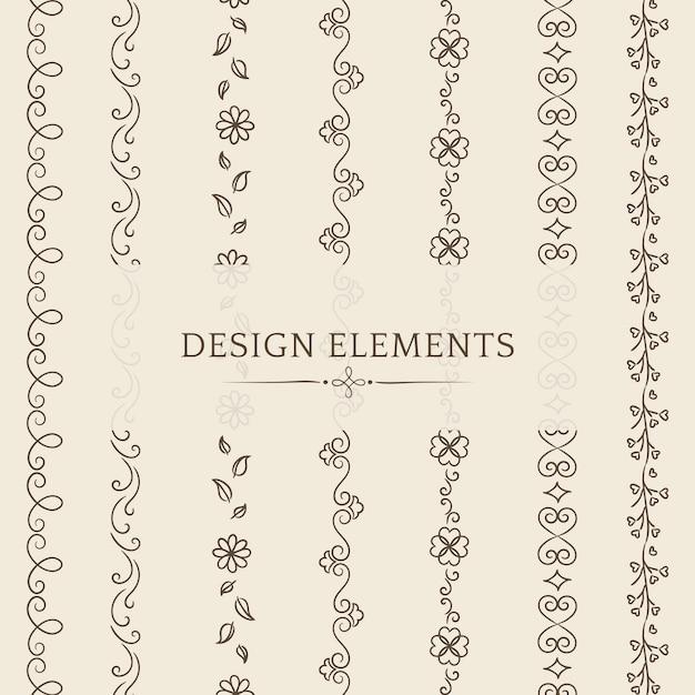 Raccolta di vettori di elemento di design divisore