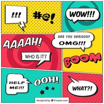 Raccolta di vignette comiche con palloncini discorso