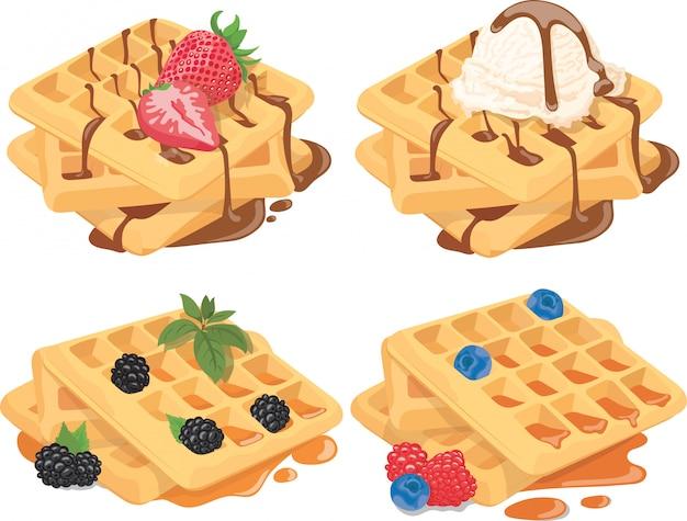 Raccolta di waffle belgi con ripieni di frutta. set di dolci con crema e frutta