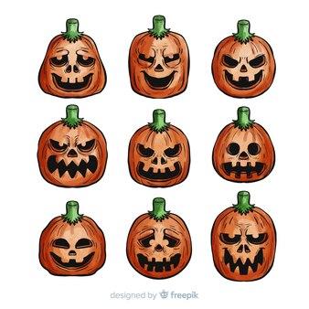 Raccolta di zucca di halloween dell'acquerello classico