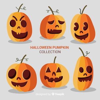 Raccolta di zucche di halloween con volti diversi