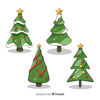 Raccolta disegnata a mano adorabile dell'albero di natale