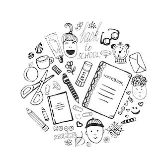 Raccolta disegnata a mano con icone di cancelleria scolastica e bambini
