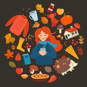 Raccolta disegnata a mano degli elementi di autunno, ragazza di autunno con iscrizione su oscurità.