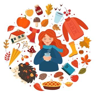 Raccolta disegnata a mano degli elementi di autunno, ragazza di autunno con iscrizione sul bianco.