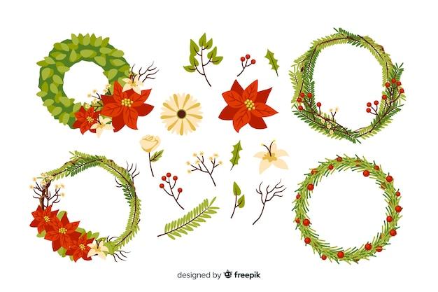 Raccolta disegnata a mano dei fiori e della corona di natale