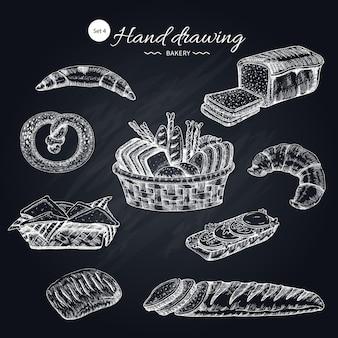 Raccolta disegnata a mano dei prodotti della farina