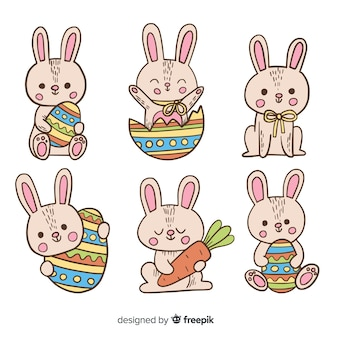Raccolta disegnata a mano del coniglietto di pasqua