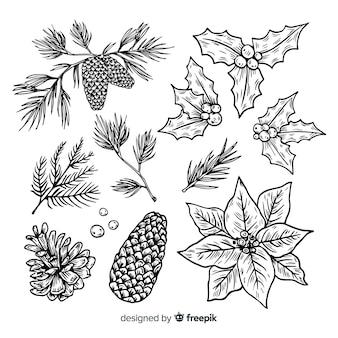 Raccolta disegnata a mano del fiore e della corona di natale