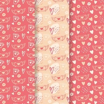 Raccolta disegnata a mano del modello di san valentino