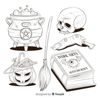 Raccolta disegnata a mano dell'elemento di halloween a matita