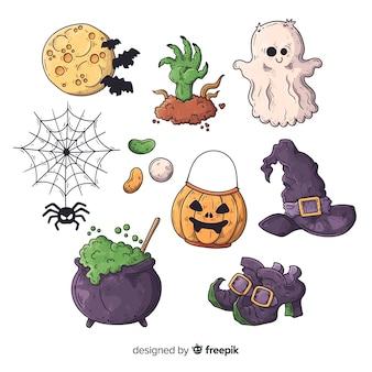 Raccolta disegnata a mano dell'elemento di halloween su fondo bianco