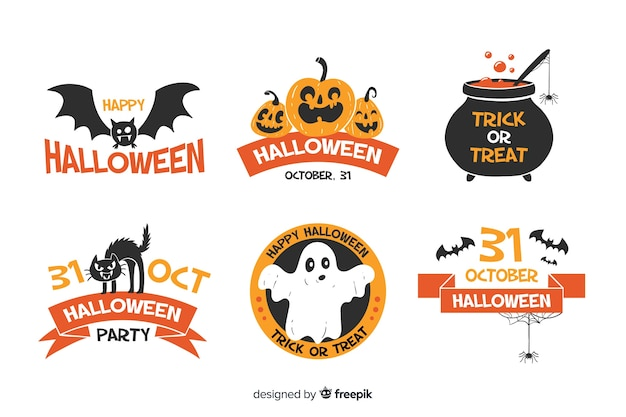 Raccolta disegnata a mano dell'etichetta e del distintivo di halloween su fondo bianco