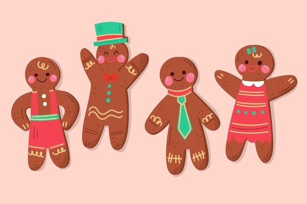 Raccolta disegnata a mano dell'illustrazione del biscotto dell'uomo di pan di zenzero