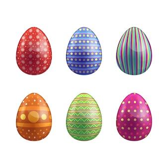 Raccolta disegnata a mano dell'uovo di giorno di pasqua di progettazione
