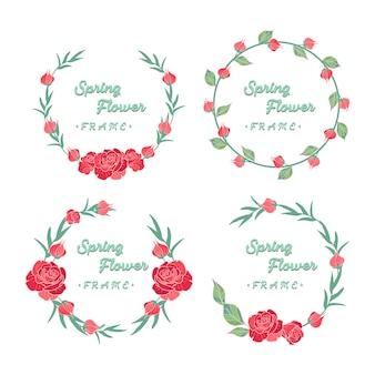 Raccolta disegnata a mano della corona delle rose rosse della primavera
