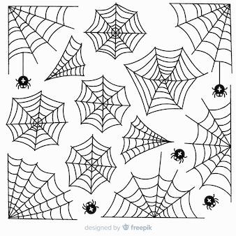 Raccolta disegnata a mano della ragnatela su fondo bianco