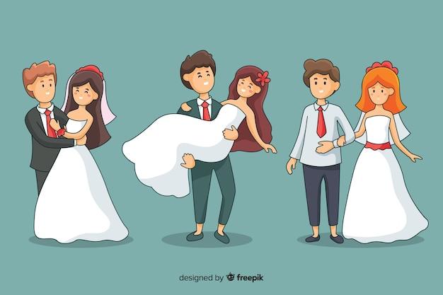 Raccolta disegnata a mano delle coppie di nozze su fondo scuro