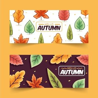 Raccolta disegnata a mano delle insegne di vendita di autunno