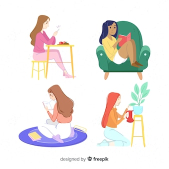 Raccolta disegnata a mano delle ragazze a casa