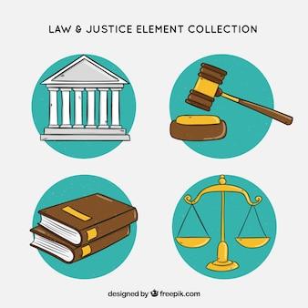 Raccolta disegnata a mano di elementi di legge e giustizia