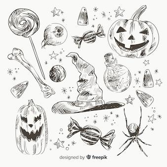 Raccolta disegnata a mano realistica dell'elemento di halloween