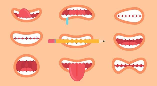 Raccolta divertente della bocca, emoticon differenti, lingua fuoriuscita e denti mostrati dalla persona