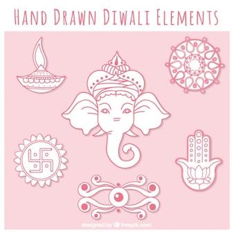 Raccolta diwali di elementi disegnati a mano