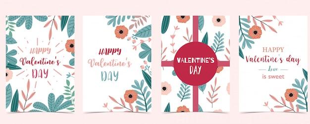 Raccolta felice della cartolina d'auguri di san valentino, tema tropicale