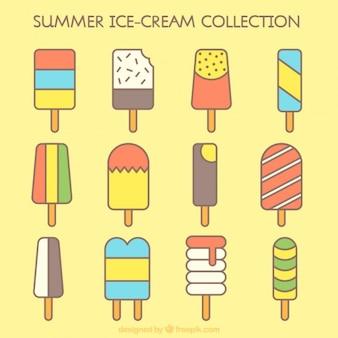 Raccolta gelato piatto con diverse forme