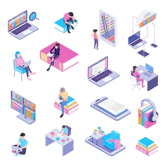 Raccolta isometrica degli elementi della biblioteca online con le cuffie dell'utente della pagina web del catalogo elettronico del computer portatile