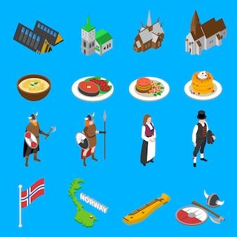 Raccolta isometrica delle icone delle attrazioni turistiche della norvegia