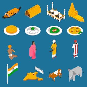 Raccolta isometrica delle icone delle attrazioni turistiche indiane