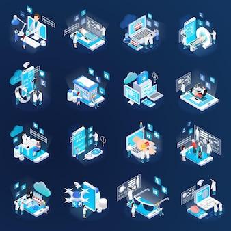 Raccolta isometrica delle icone di incandescenza di telemedicina di salute con medico virtuale di prove a distanza mobili dei dispositivi elettronici mobili isolato