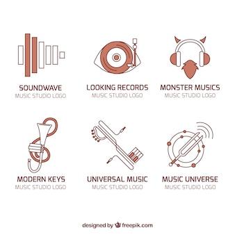 Raccolta logos di musica in stile moderno