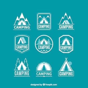 Raccolta logotipo campeggio lineare
