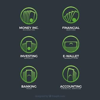 Raccolta moderna del modello di logo di soldi verdi