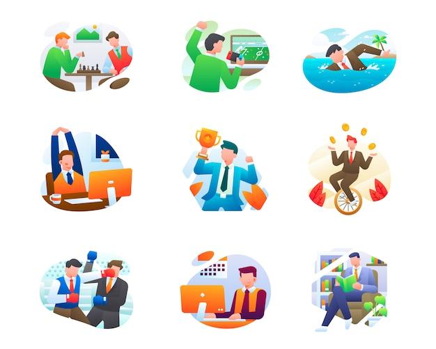 Raccolta moderna dell'illustrazione di affari