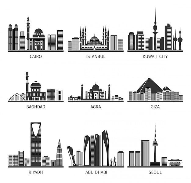 Raccolta nera dei punti di riferimento di paesaggi urbani orientali