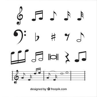 Raccolta note musicali in design piatto