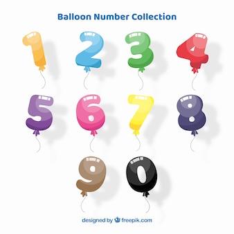 Raccolta numero di palloncini