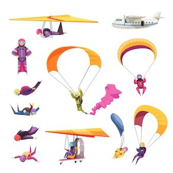 Raccolta piana delle icone degli elementi di sport estremi di paracadutismo con l'aliante dell'aeroplano di caduta libera di salto del paracadute isolata