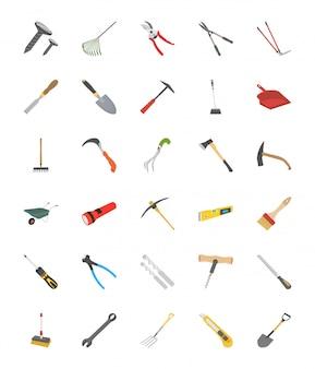 Raccolta piana delle icone di vettore degli strumenti
